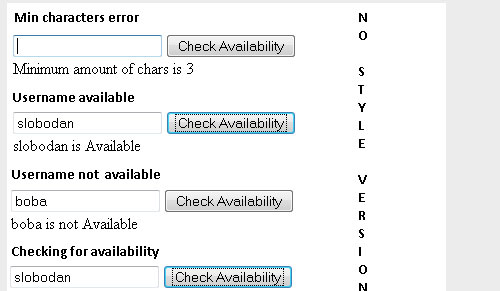 Checking username availability with ajax jQuery form plugin