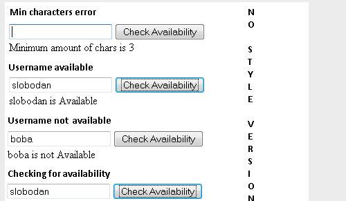 Verificar a disponibilidade do nome de usuário com ajax plugin de forma jQuery