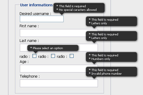 A inline validation jQuery form plugin