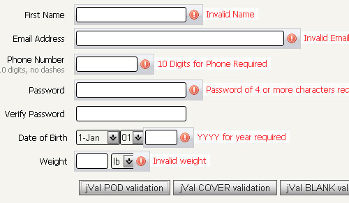 Field Validation jquery form plugin