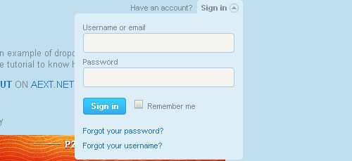 Caixa signin perfeito suspensa como o Twitter plugin de forma jQuery
