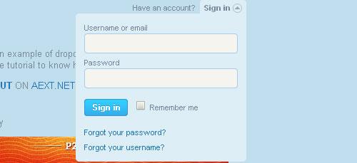 Perfect signin dropdown box like Twitter jQuery form plugin