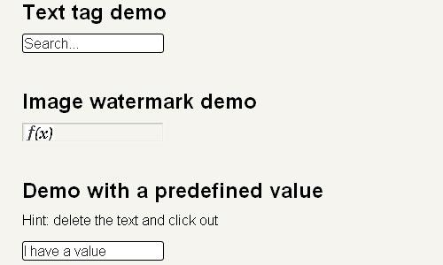 Marcas d'água para inputfields plugin de forma jquery