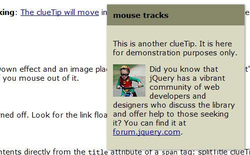 clueTip Tooltip plugin