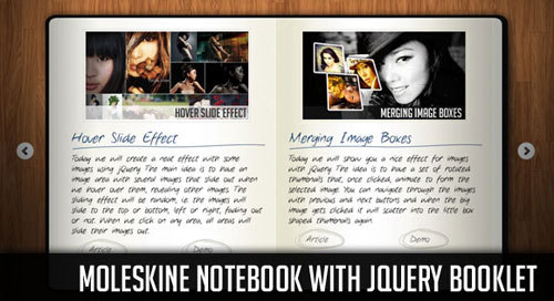 Moleskine Notebook with jQuery Booklet tutorial