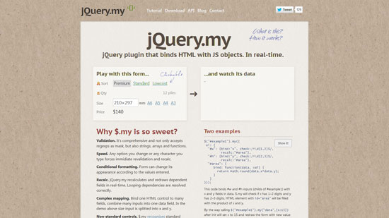 jQuery.my: jQuery plugin that binds HTML with JS objects
