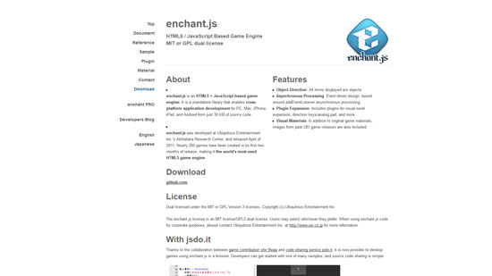 enchant.js Javascript & HTML5 game engine library