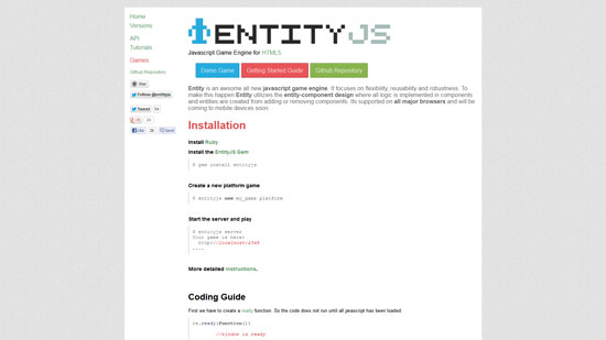 Entity Javascript & HTML5 game engine library