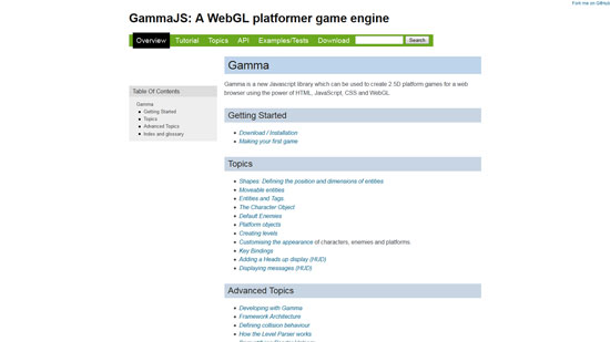 Gamma Javascript & HTML5 game engine library