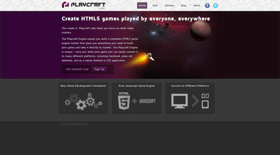 Playcraft Javascript & HTML5 game engine library