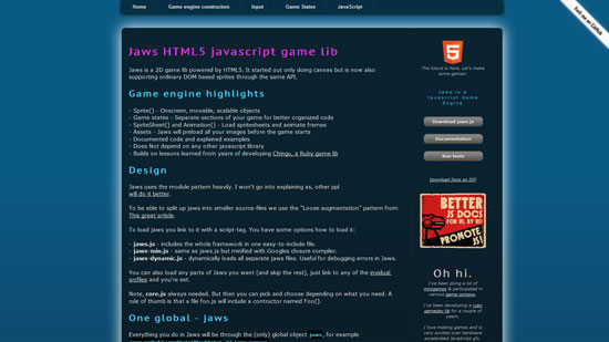 Jaws HTML5 lib Javascript & HTML5 game engine library