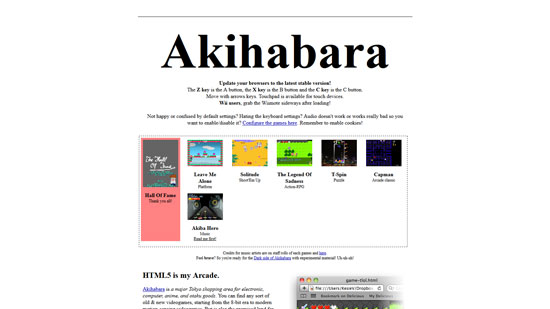 Akihabara Javascript & HTML5 game engine library