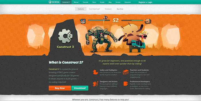 Construct 2 Javascript & HTML5 game engine library