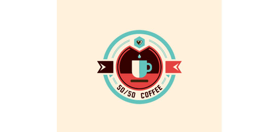 50/50 Coffee Logo Design Inspiration