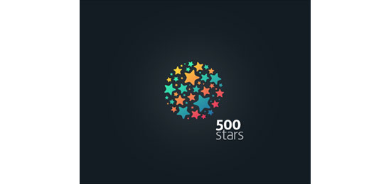 500 stars Logo Design Inspiration