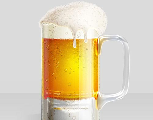 Cold Beer Glass Illustration Photoshop tutorial