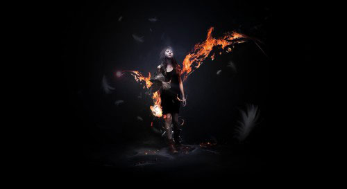 Design a Awesome Supernatural Dark Scene with Fiery Effect in Photoshop tutorial