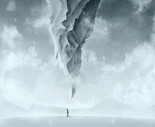 Create a Surreal Upside Down Mountain Painting in Photoshop tutorial