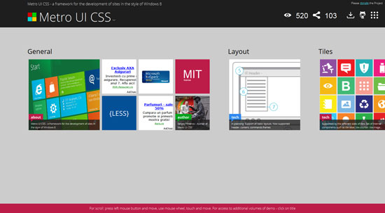 Metro UI CSS - a framework for the development of sites in the style of Windows 8