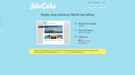 Sitecake: Simple, drag and drop CMS for fast editing