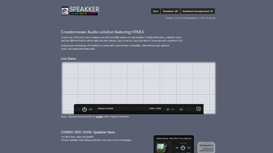 Speakker: Crossbrowser Audio solution featuring HTML5