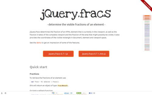 jQuery.fracs - determine the visible fractions of an element