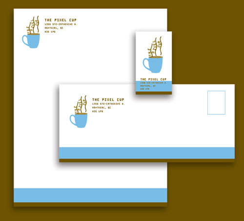 the pixel cup stationary letterhead and logo design inspiration - Letterhead Design Ideas