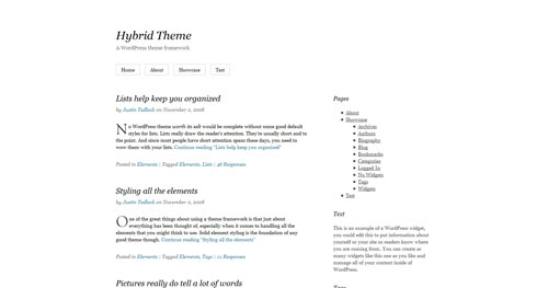 Hybrid - Top Quality Free Minimalist WordPress Theme