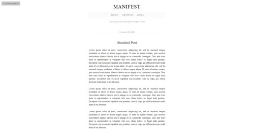 Manifest - Top Quality Free Minimalist WordPress Theme