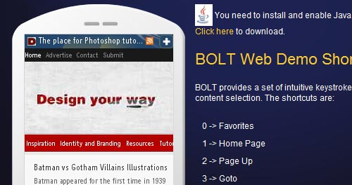 Bolt mobile web browser