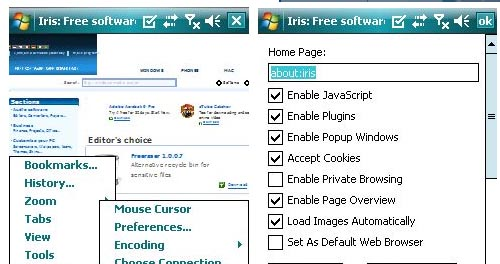 Iris mobile web browser