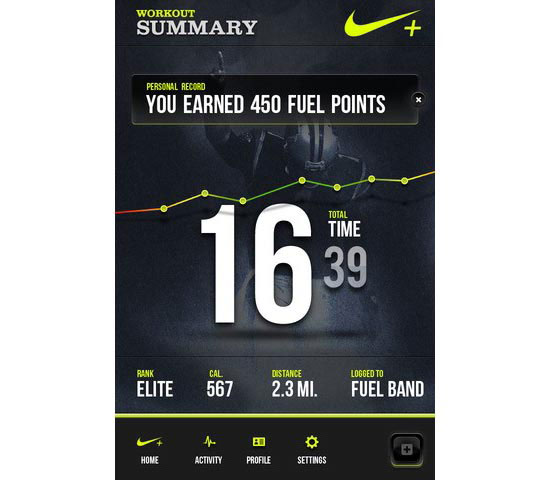 Nike Fuel plus App Mobile User Interface Design Inspiration