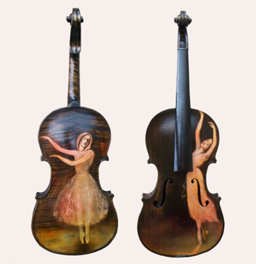 31 custom painted violins guitars and cellos for Violin decorating ideas