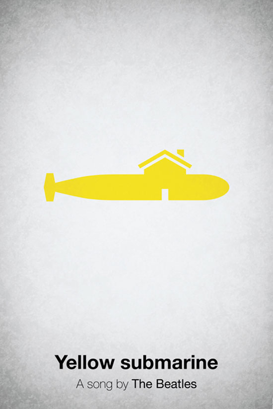 Yellow submarine by The Beatles Poster Made With Pictogram