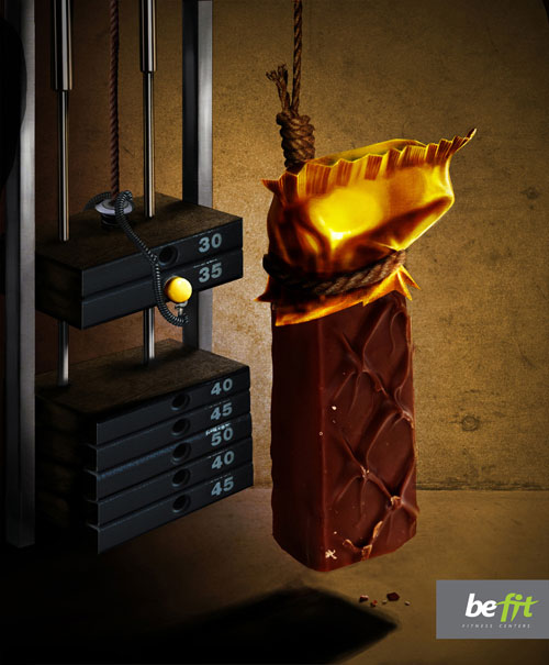 Be fit chocolate print advertisement