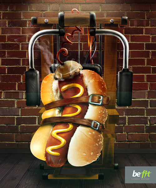 Be fit hot dog print advertisement