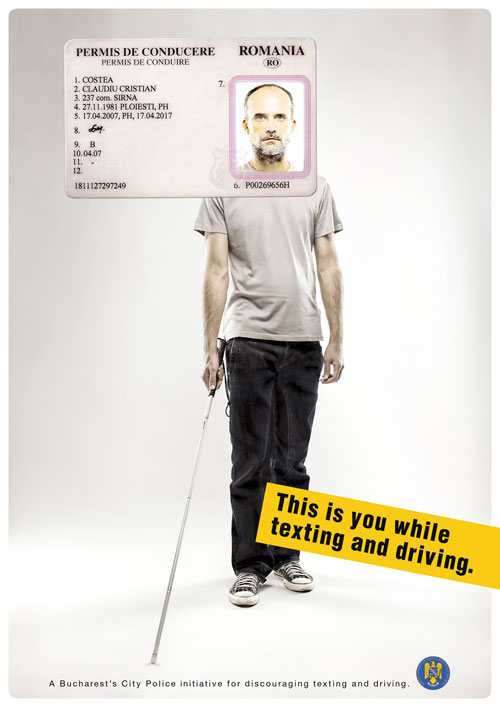 Campaign for discouraging texting and driving print advertisement