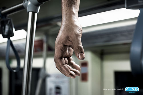 Sanzer Hand Gel - What do you really touch? 3 print advertisement