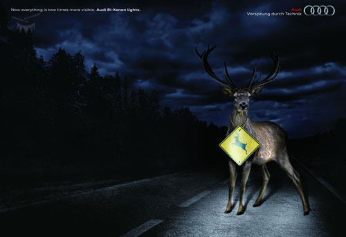 Audi Bi-Xenon lights print advertisement