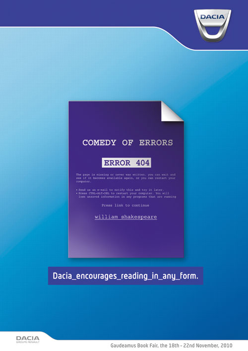 Dacia encourages reading in any form print advertisement