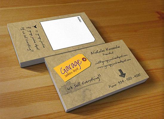 Garage Junkies Depot Business Card Inspiration