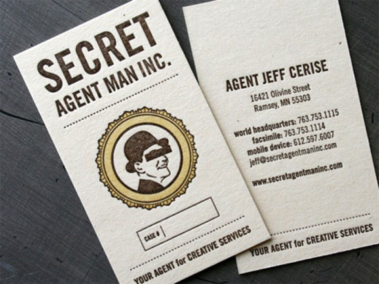 Secret Agent Man  Business Card Inspiration