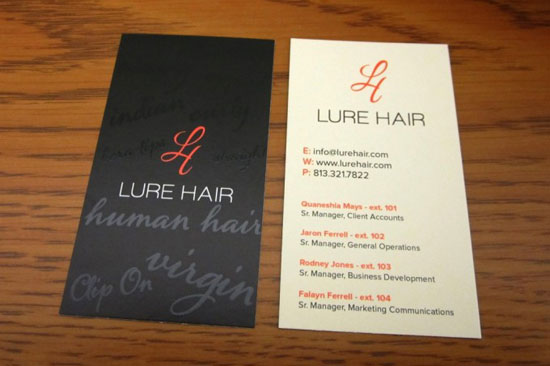 Lure Hair Business Card Design Inspiration