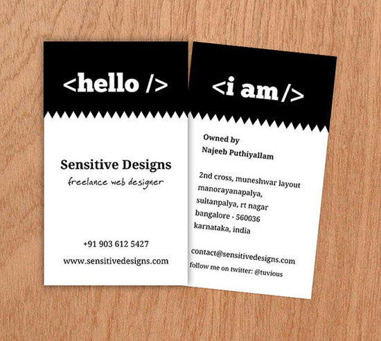 Sensitive Designs Business Card Design Inspiration