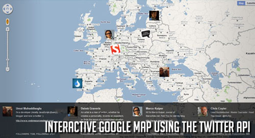 Interactive Google Map using the Twitter API