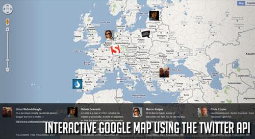 Interactive Google Map using the Twitter API