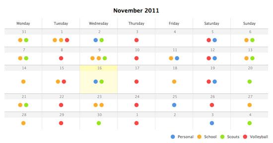 A clean calendar in CSS3 & jQuery