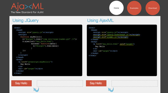 AjaxML Tool for web designers
