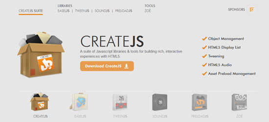CreateJS Tool for web designers