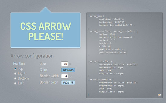 css arrow please Tool for web designers